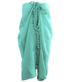 Katoenen sarong in zeegroen met kwasten franje