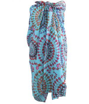 Turquoise sarong met edelstenen print