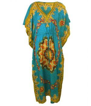 Lange kaftan in turquoise met ornament print in geel