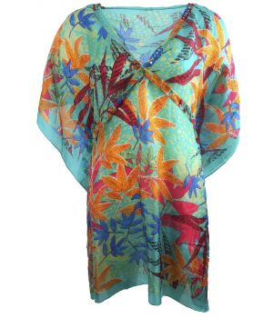 Turquoise zijden tuniek met bladeren print