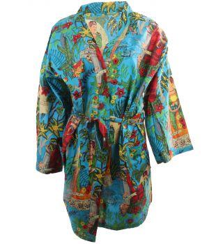 Korte turquoise katoenen kimono met Frida Kahlo print