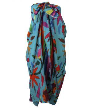 Turquoise katoenen sarong met dieren- en bloemenprint