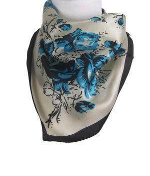 Vierkant zijden sjaaltje met bloemenprint in turquoise