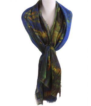 Wollen mousseline schilderij-sjaal met afbeelding van ''Sterrennacht boven de Rhône''