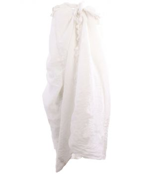 Katoenen sarong in ivoor met kwasten franje