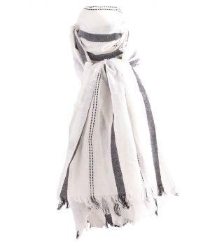 Katoenen sjaal met geweven strepen