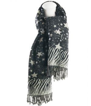 Wollen sjaal met sterren en zebra patroon