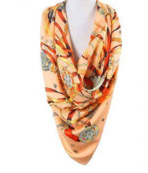 Zalmroze twill zijden sjaal met kwasten print