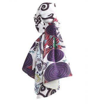 Zijden sjaal met afbeelding van '' Three of life'' van Gustav Klimt