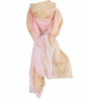 Crushed zijden sjaal met kleurverloop in abrikoos en roze