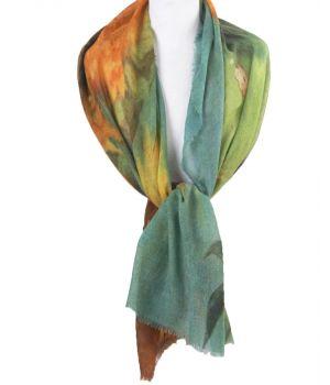 Wollen mousseline schilderij-sjaal met afbeelding ''Zonnebloemen'' van Gogh