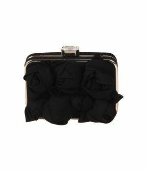 Zwarte crêpe voile box clutch met rozenknoppen