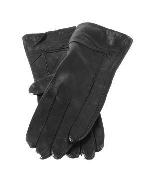 Zwarte leren handschoenen met kleine strik