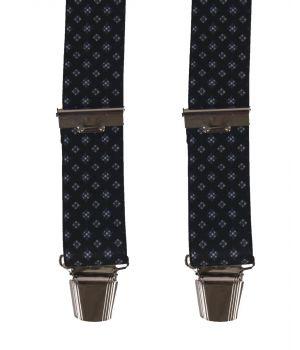 Zwarte bretels met blauw-witte ruit