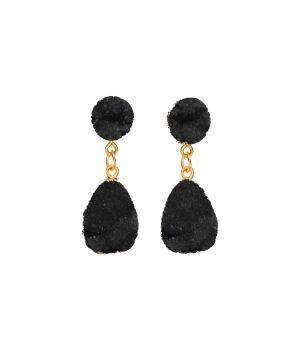 Oorbellen met mineralen look in zwart