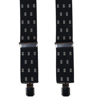Zwarte bretels met geweven witte blokjes