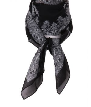 Vierkante zwarte crêpe voile sjaal
