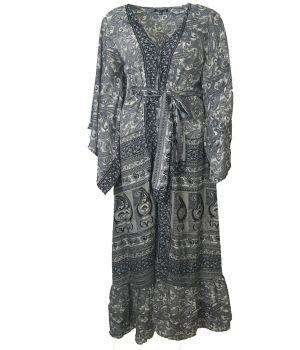 Zijde-blend lange kimono met klokmouwen in zwart en grijs