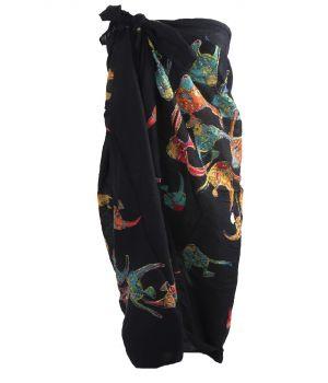 Zwarte sarong met vissenprint