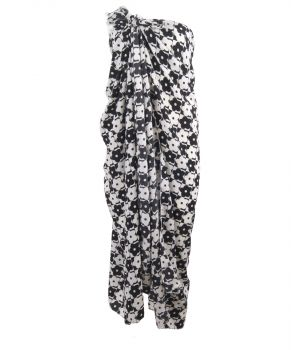 Pareo van crêpe voile met bloemen in zwart-wit