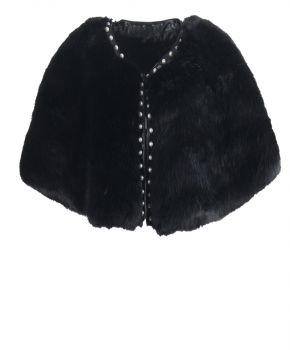 Zwarte faux bont cape met parel studs