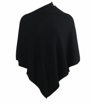 Kasjmier-blend poncho in zwart