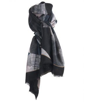 Sjaal met fotoprint en kleurvlakken