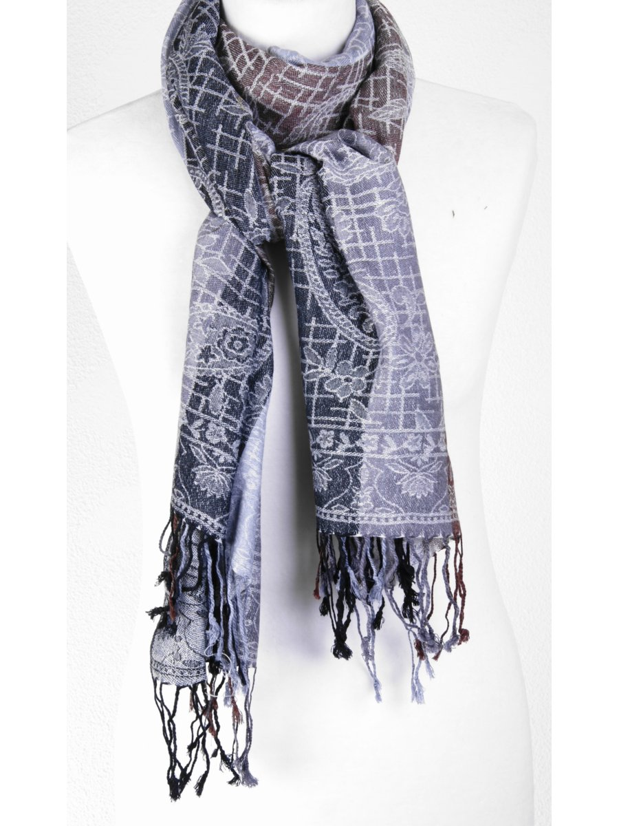 Pashmina sjaal met paisley patroon in grijs/bruin