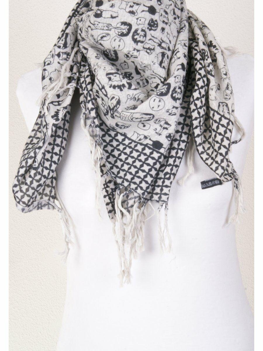 Off white/ zwarte sjaal met 'stripfiguren' print