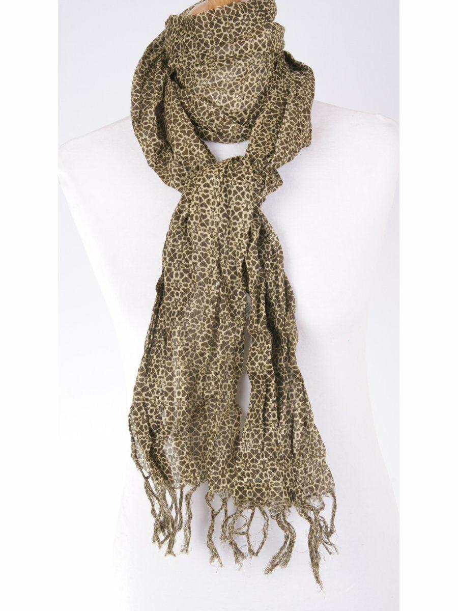 Bruin/ecru sjaal met sparkling lurexdraadje