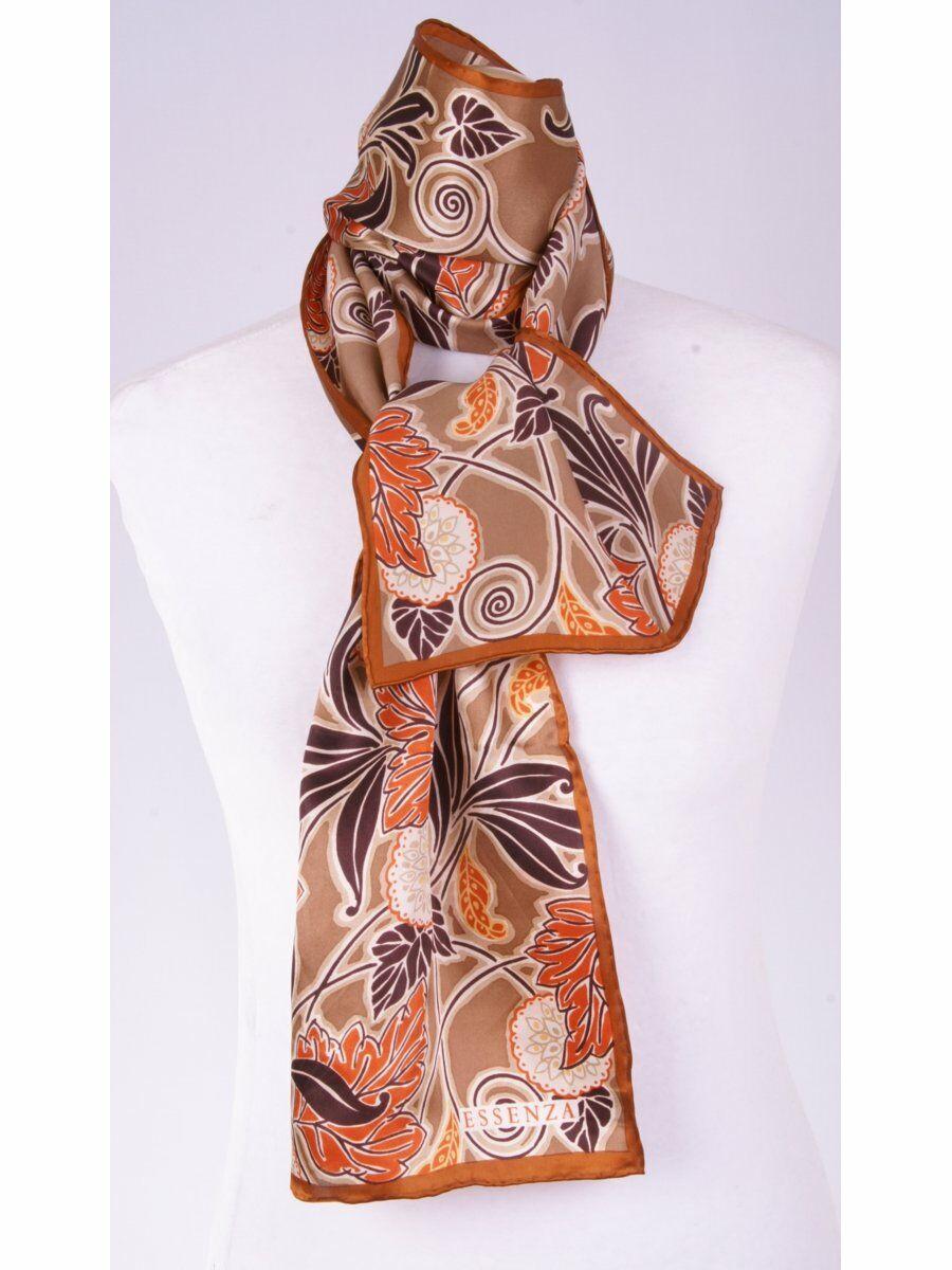 Terra/ bruin satijn zijden sjaaltje met klassieke bloemprint