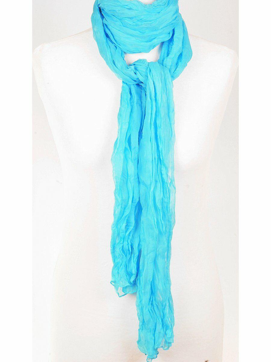 Effen aqua crushed zijden sjaal