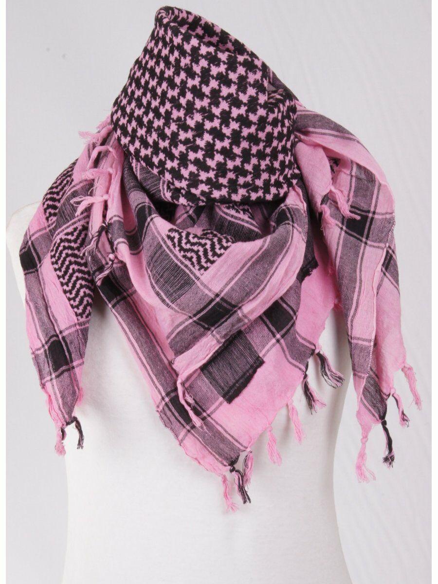 candy pink - zwarte PLO - Arafatsjaal