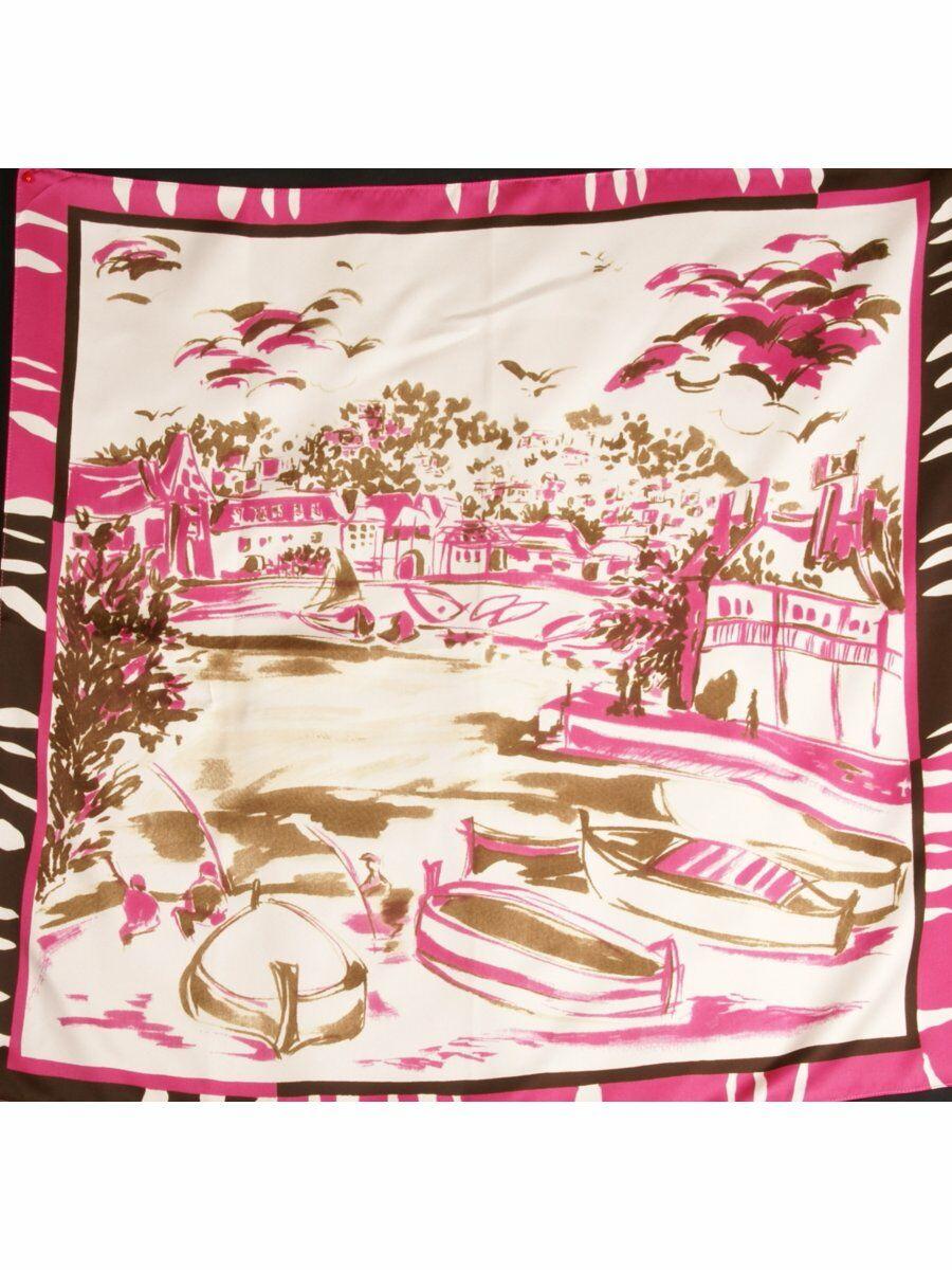 Ivoor silktouch sjaal met schildering in roze