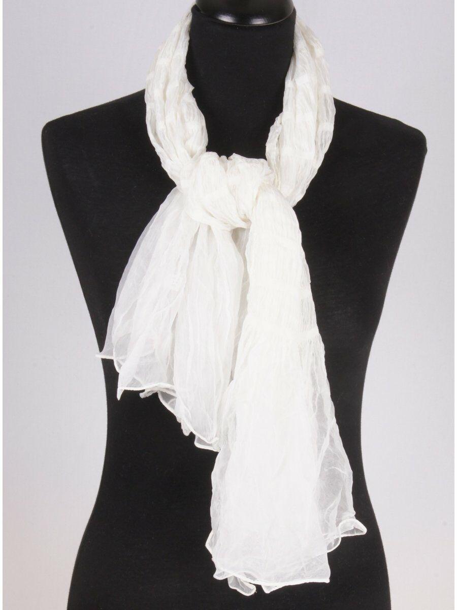 ivoor-witte luchtige smokeffect chiffon sjaal