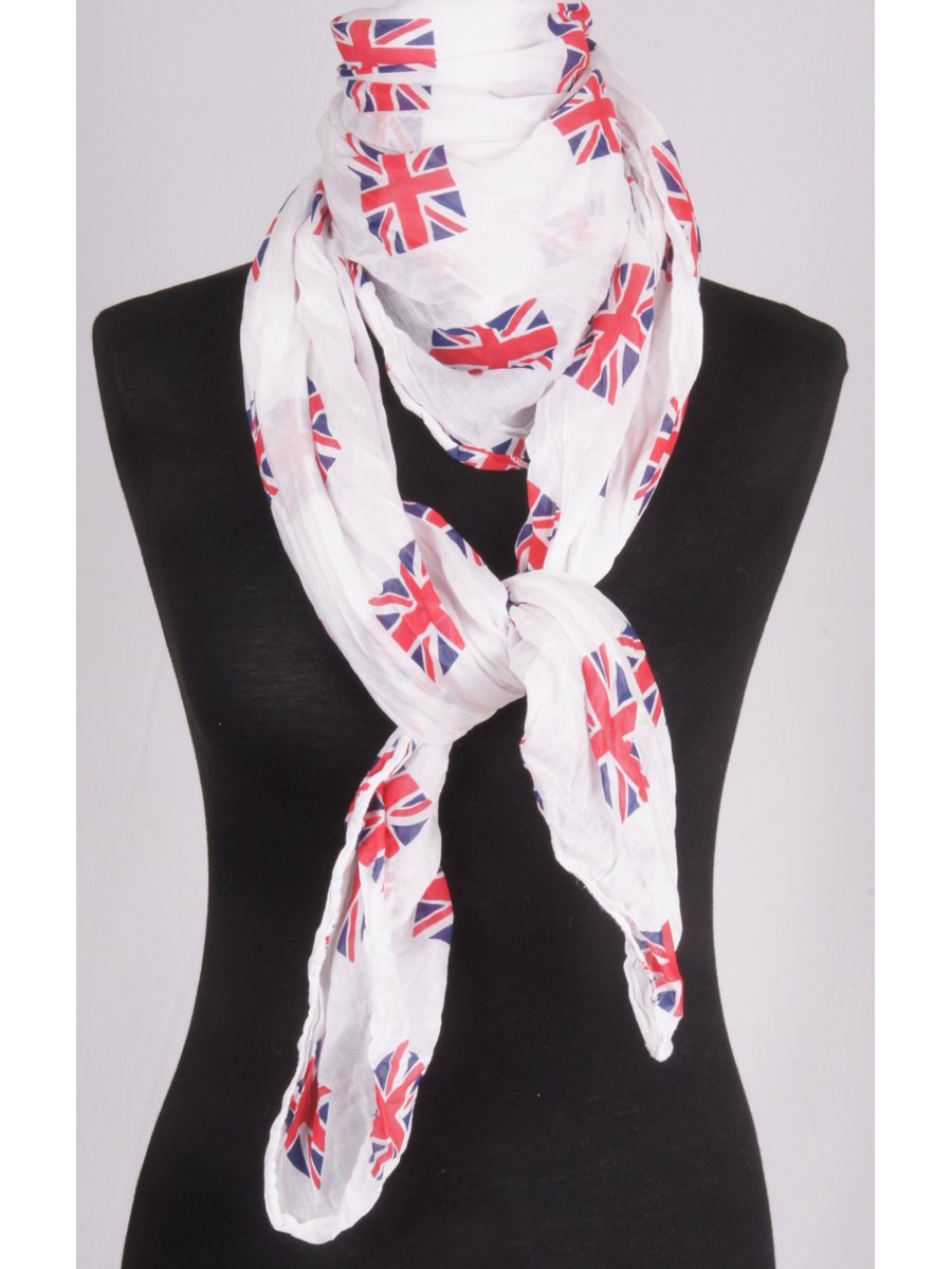 Witte crushed Engelse vlaggen sjaal
