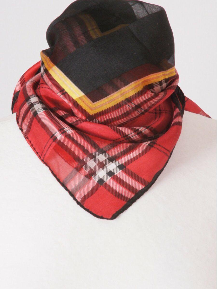 rode satijn zijden sjaal met tartan ruit