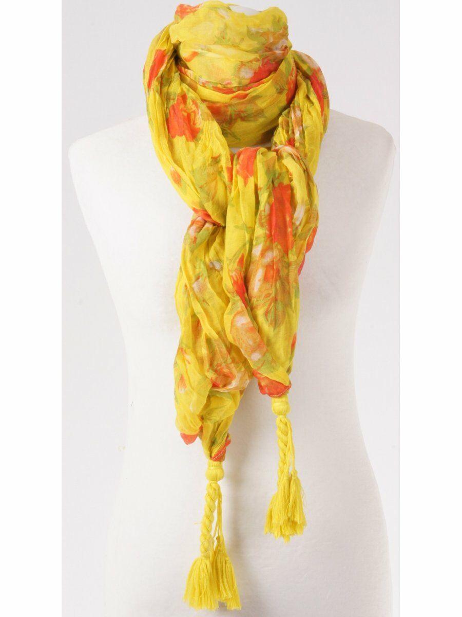 Gele crinkle sjaal met bloemenprint