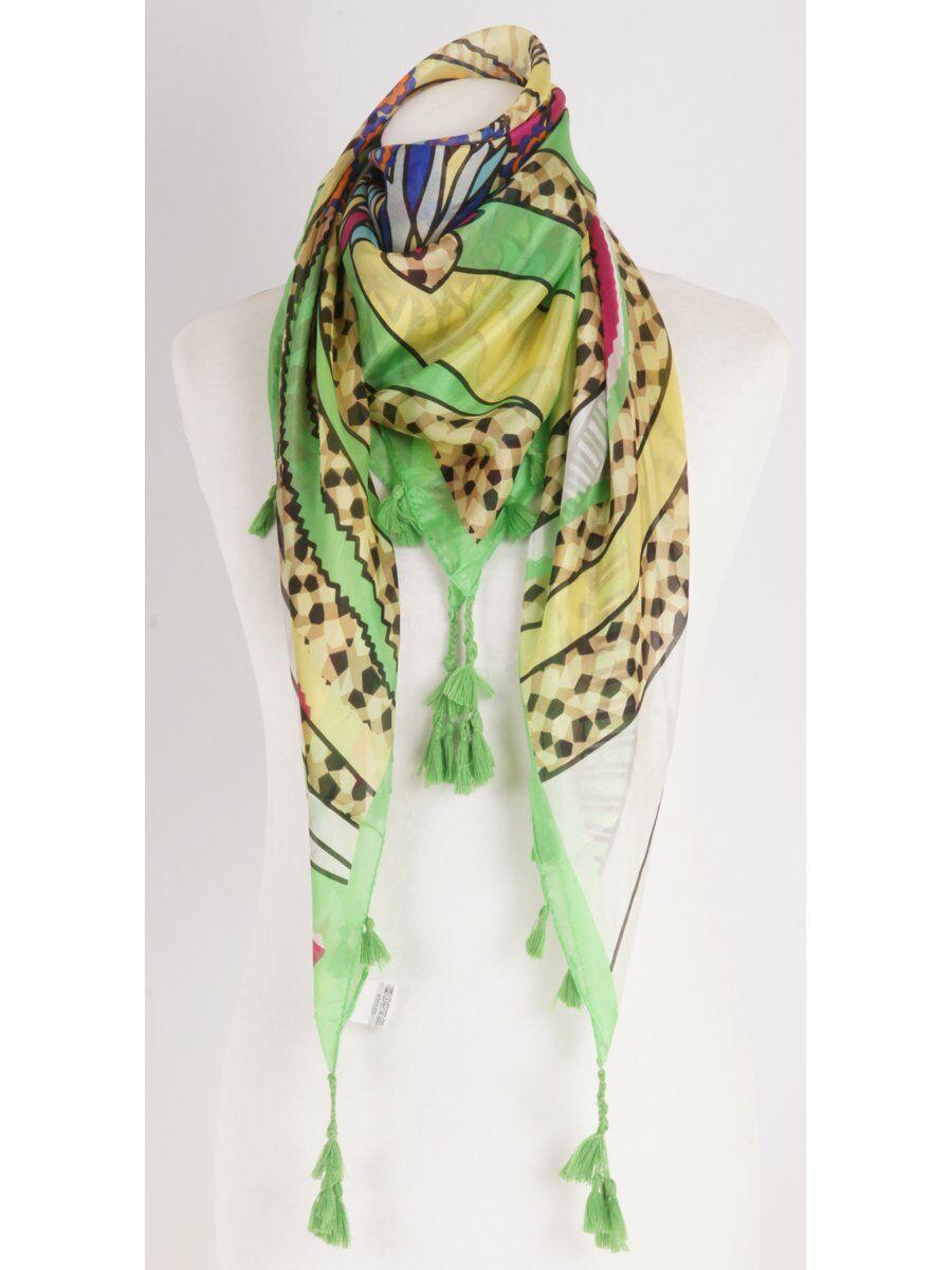 Groene zijden sjaal met fantasie-bloemen print in heldere kleuren