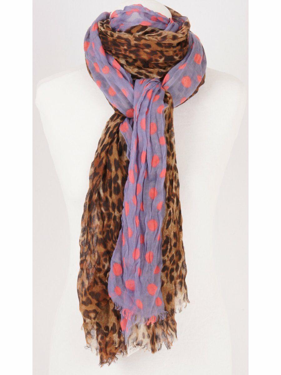 Extra lange soepelvallende sjaal met leopard print en polkadot rand