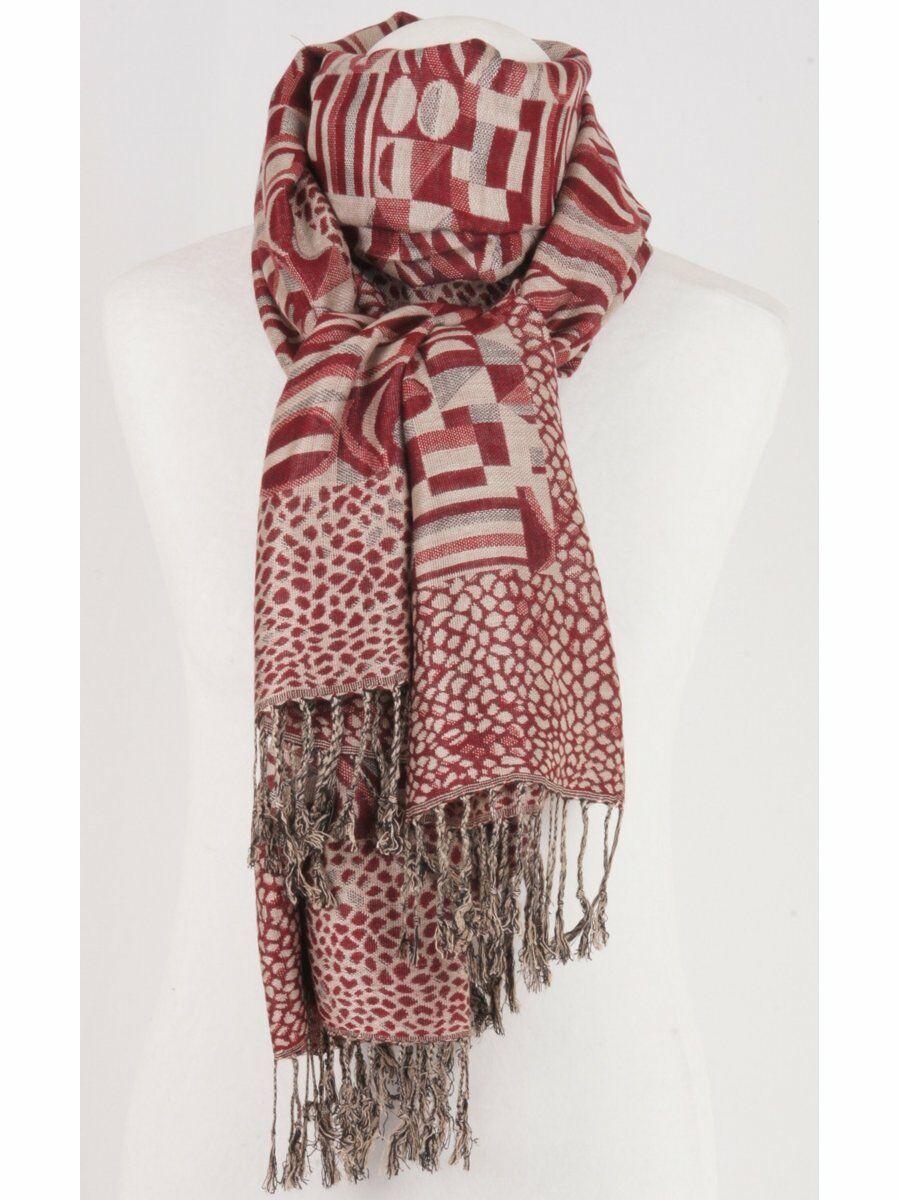 Pashmina sjaal in rood/ecru met geometrische patronen