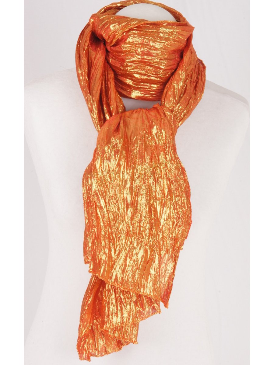 Oranje metallic crushed sjaal