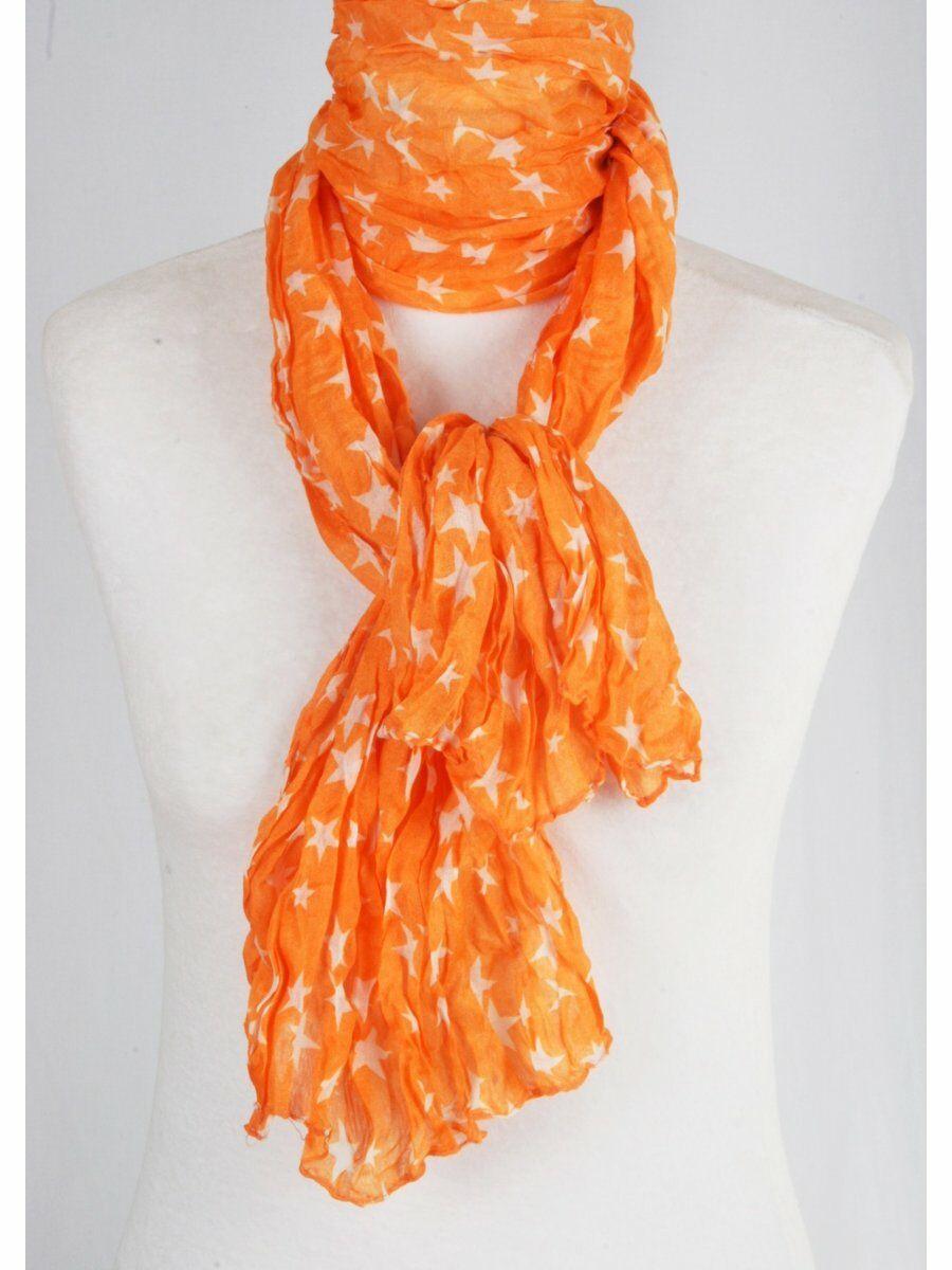 Oranje crushed sjaal met witte sterrenprint Dames > Sjaals maat  van  snel en voordelig in huis? Hier lukt het direct