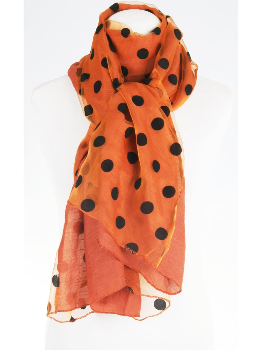 Oranje bruine 2 laags tunnelgestikte polka dot stola / sjaal met één laag organza op één laag soepel ...