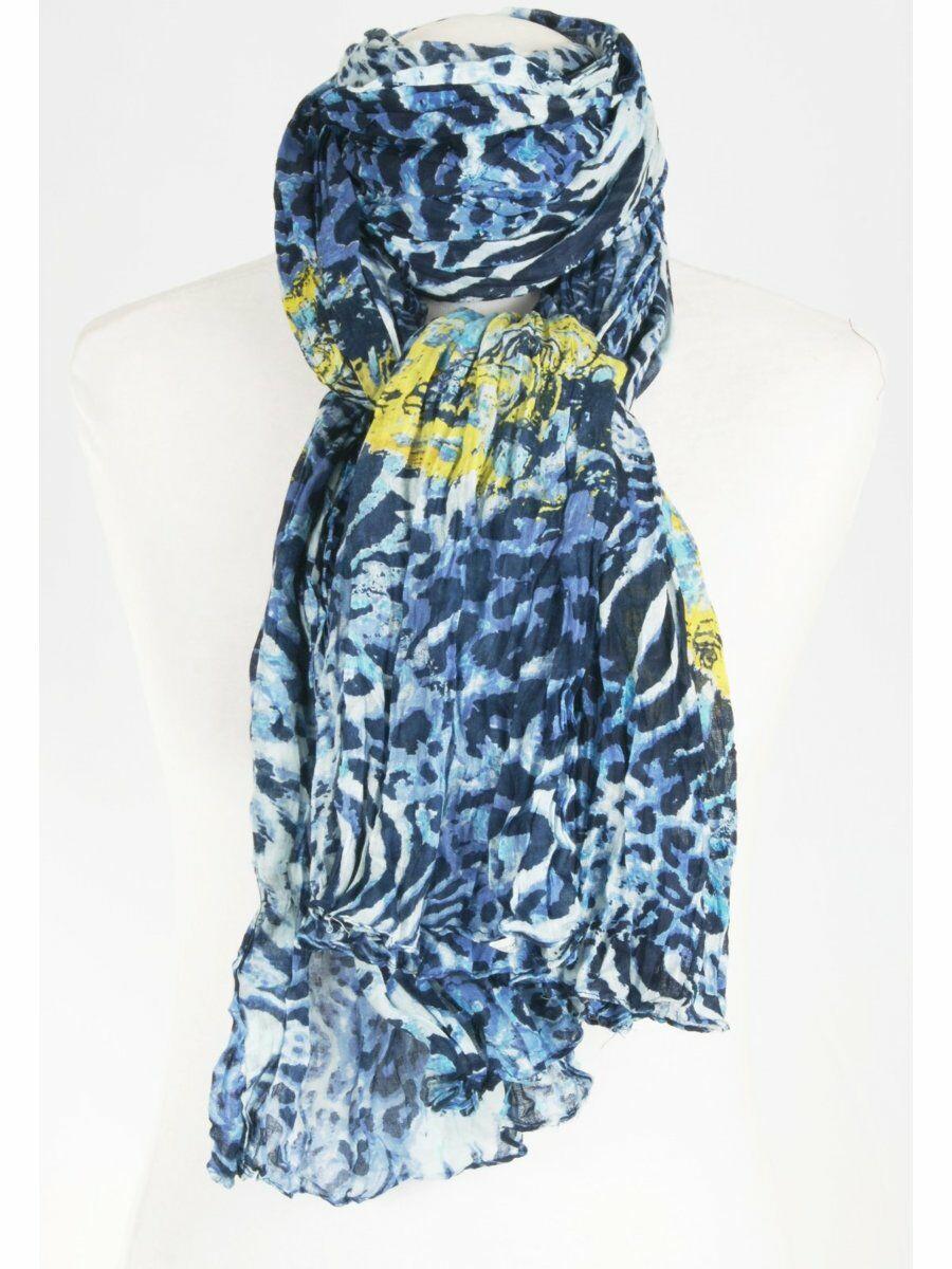 Trendy crushed katoenen dierenprint sjaal in blauw tinten en geel