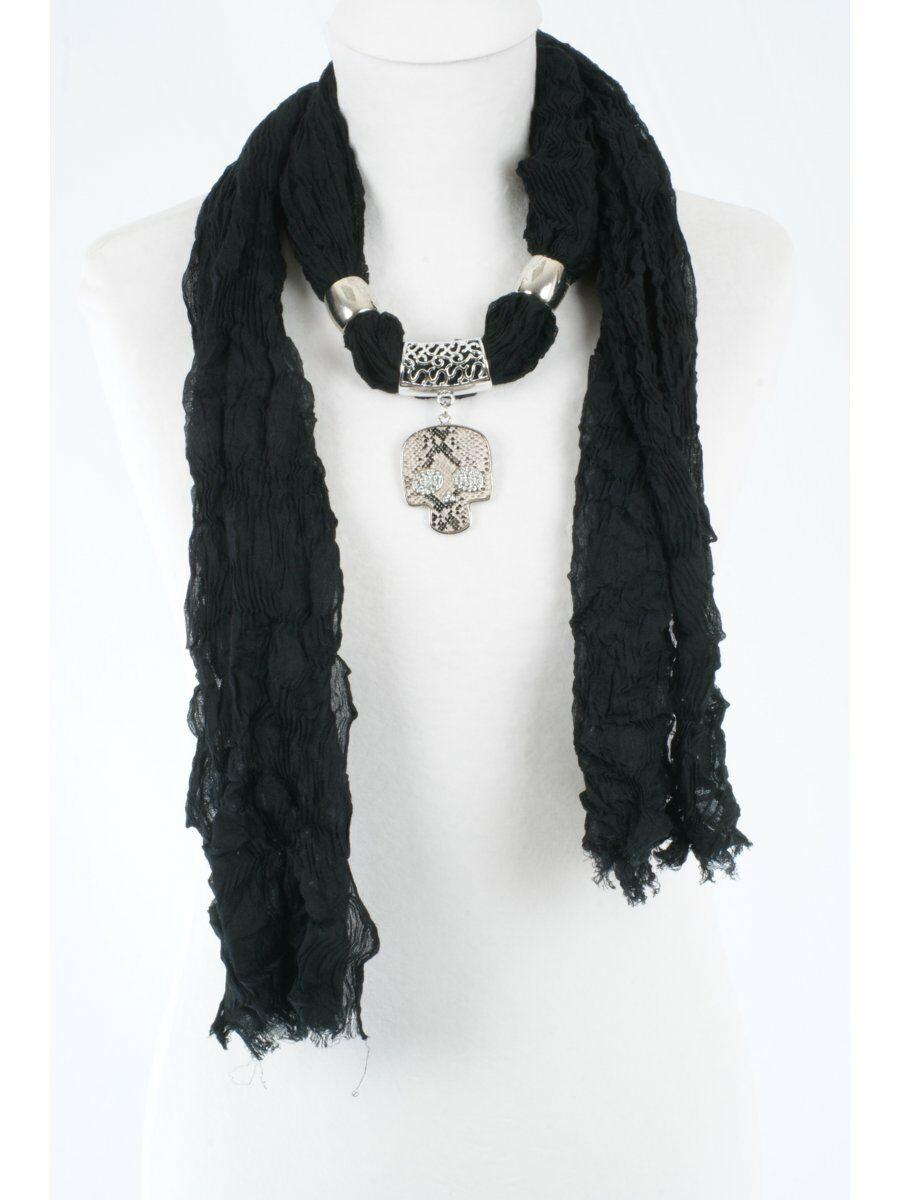 Zwarte kettingsjaal met ( losse) silvertone skull hanger Dames > Sjaals > Sjaalkettingen & Kettingsjaals maat  van  snel en voordelig in huis? Hier lukt het direct