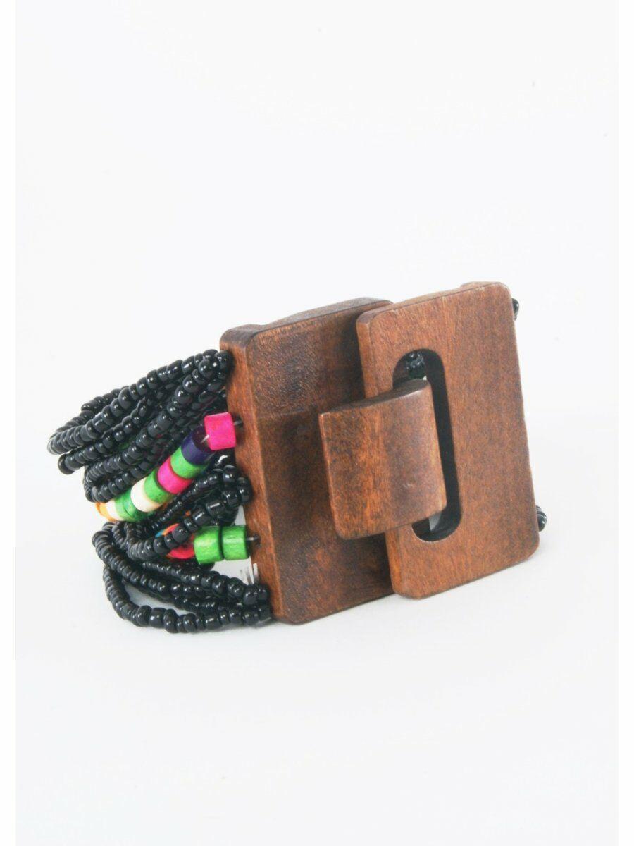 Elastische kralenarmband met houten sluiting