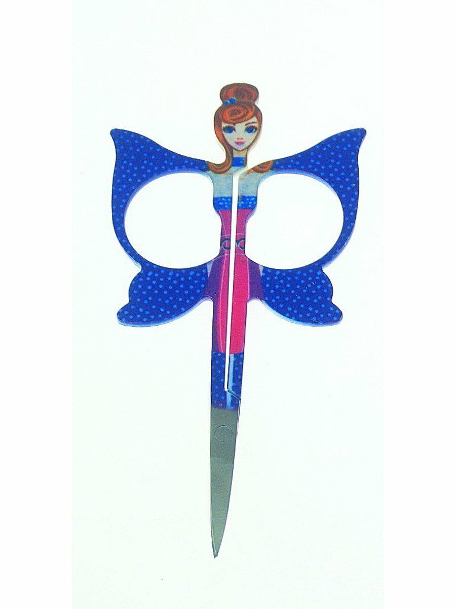 Fashion girl nagelschaartje met koblatblauwe vleugels