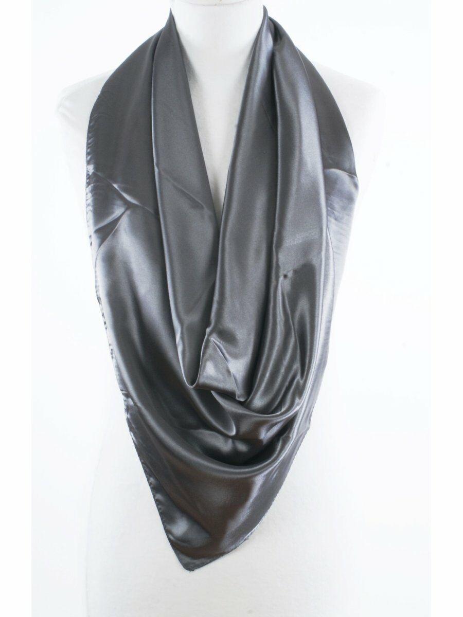 Effen antraciet grijze satijnen sjaal