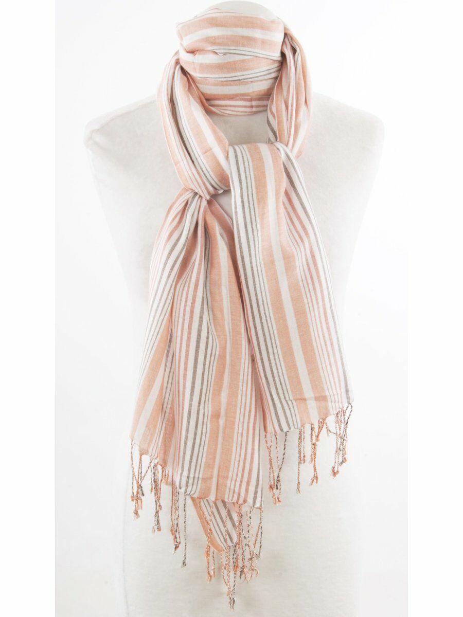Sjaal met peach en taupekleurige strepen